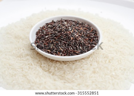 Mixture of dark brown and white rice on two white plates, horizontal view.  Background photo of rice variety - stock photo