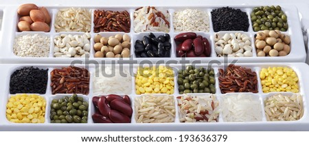 Mixture of dried lentils, peas, grains, beans as background - stock photo