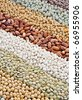Mixture of dried lentils, peas, soybeans, beans  - background - stock photo