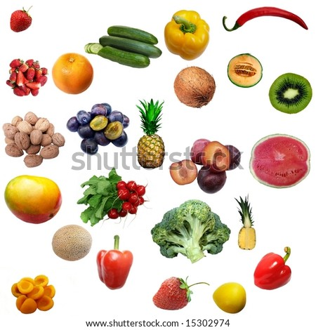 mixture of fruit and vegetables on white background