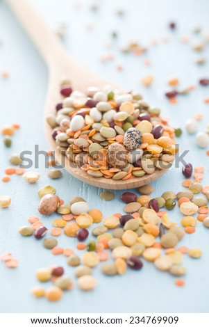 mixture of legumes in wooden spoon - stock photo