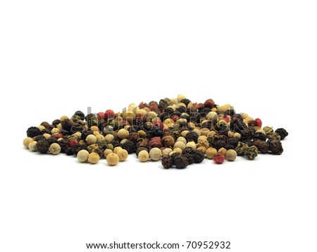 mixture of peppercorns on a white background