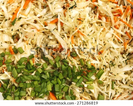 Mixture of various ingredients for preparing a salad with finely chopped cabbage, carrots, dill and green onions close-up - stock photo