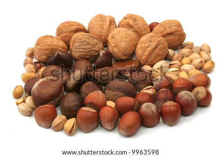 mixture of various nuts isolated on white background - stock photo