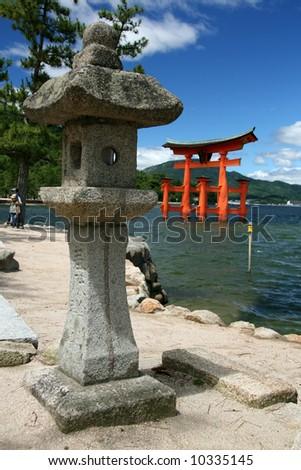 Miyajima Gate - Itsukushima Shrine, Miyajima, Japan - stock photo