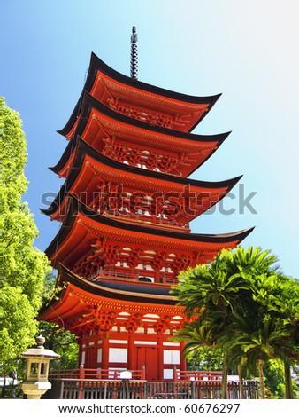 Miyajima Goju-no-to pagoda - stock photo