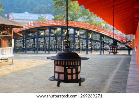 MIYAJIMA, JAPAN - MARCH 29 : Itsukushima Shrine on 29 March 2015. Miyajima, Japan. Izsukushima is one of the most important and sacred Shinto shrine in Japan. - stock photo