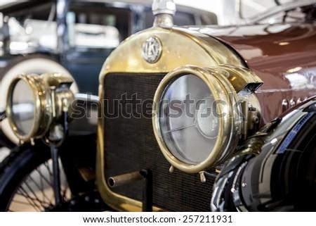MLADA BOLESLAV, CZECH REPUBLIC -JUNI 22, 2014: Skoda Auto Museum in Mlada Boleslav. Automobile museum presents the history of the company Skoda Auto and it is predecessor Laurin & Klement - stock photo