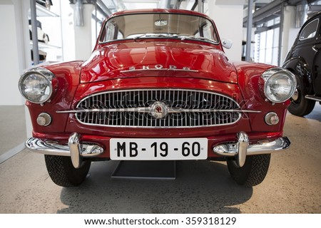 MLADA BOLESLAV, CZECH REPUBLIC -JUNI 23, 2014: Skoda Auto Museum in Mlada Boleslav. Automobile museum presents the history of the company Skoda Auto and it is predecessor Laurin & Klement - stock photo
