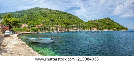MLJET, CROATIA - JUNE 24, 2014: Adriatic landscape panorama of the village Prozurska Luka and anchored yachts on island Mljet in Dubrovnik archipelago.