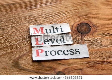 MLP- Multi Level Process  written on paper on wooden background - stock photo