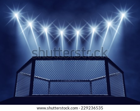 MMA cage and floodlights , MMA arena - stock photo