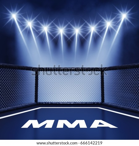 MMA cage lit by spotlights, Mixed martial arts fight night event , 3d illustration