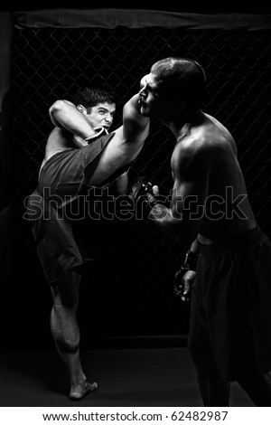 MMA - Mixed martial artists fighting - kicking - stock photo