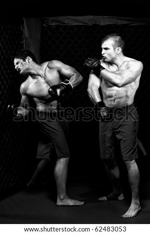 MMA - Mixed martial artists fighting - punching - stock photo