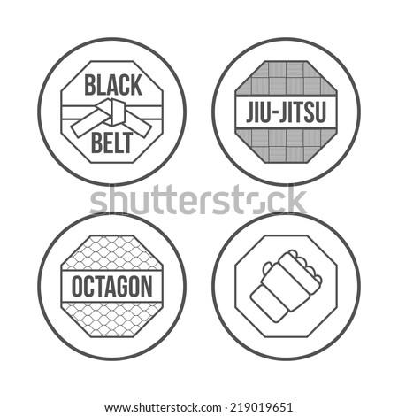 MMA Sport icons set. Thin Line Style. illustration - stock photo
