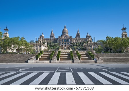 MNAC Museum located at Montjuic area in Barcelona, Spain - stock photo