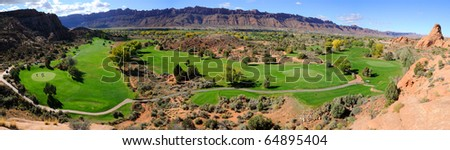 Moab Desert Golf Course Panorama - stock photo