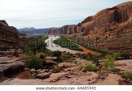 Moab Rim Jeep Trail above Colorado River - stock photo