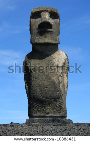 Moai from Ahu Tongariki on Easter Island - stock photo