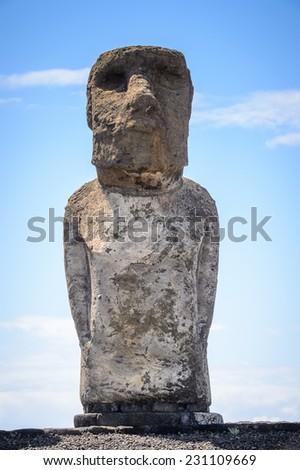 Moai in the Rapa Nui National Park, Easter Island, Chile, South America - stock photo