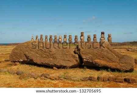 moais at Ahu Tongariki Easter Island Chile - stock photo