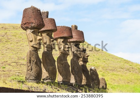 Moais in Anakena beach, Easter island (Chile) - stock photo
