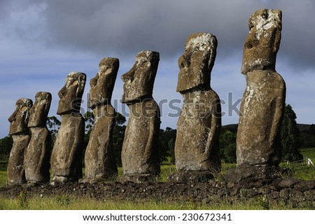 Moais in Easter Island, Chile