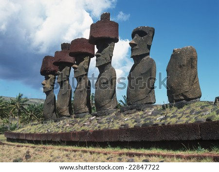 Moais of Ahu Akivi inland Ahu on the UNESCO World Heritage of Easter Island,Chile