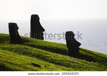Moais Silhouette - Easter Island - stock photo