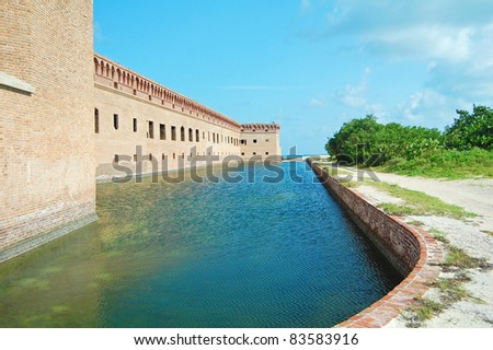 moat surrounding fort jefferson, Dry Tortugas National Park - stock photo