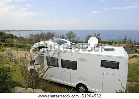 Mobil home at a camping near the sea