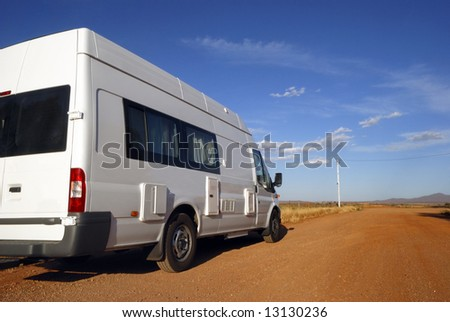 Mobil home on its way in Australia - stock photo