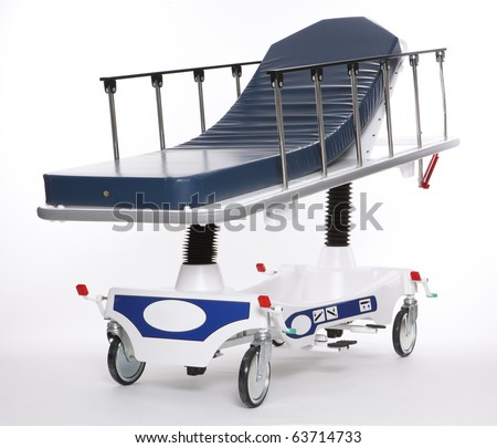 Mobile and adjustable hospital stretcher - stock photo