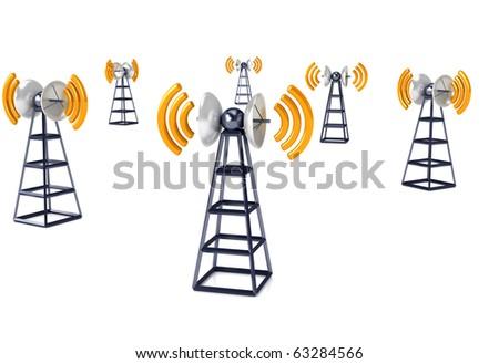 Mobile antena over white. Communication concept - stock photo
