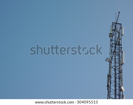 Mobile antenna on blue sky