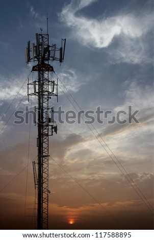 mobile antenna tower - stock photo