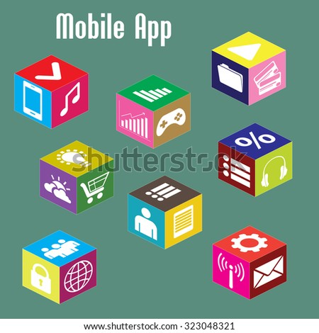 mobile app, isometric  illustration - stock photo