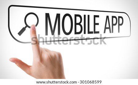 Mobile App written in search bar on virtual screen - stock photo