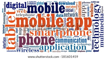 Mobile Application  in word collage - stock photo