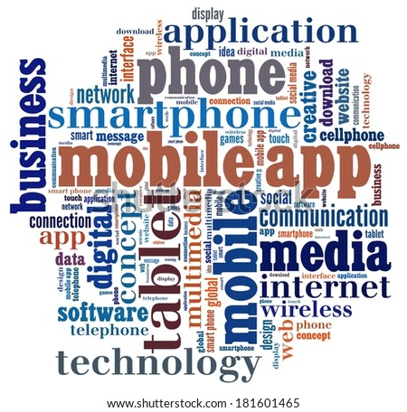 Mobile Application  in word collage