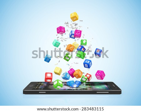 Mobile Application Software Concept. Different Colorful App Cubes Breaking Through From Modern Touchscreen Smart Phone Display on blue gradient background - stock photo