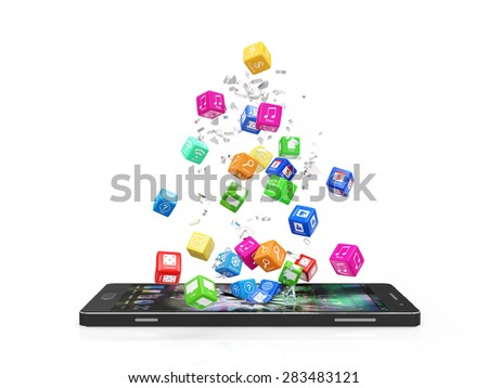 Mobile Application Software Concept. Different Colorful App Cubes Breaking Through From Modern Touchscreen Smart Phone Display isolated on white background