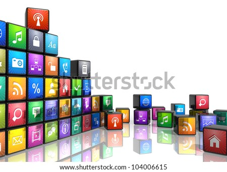 Mobile applications and media technologies concept: group of cubes with color app icons isolated on white background with reflection effect - stock photo