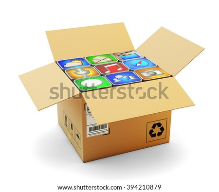Mobile applications pack, package of smartphone apps, multimedia technology and online store market concept, open cardboard box full of computer software icons isolated on white (My own icons) - stock photo