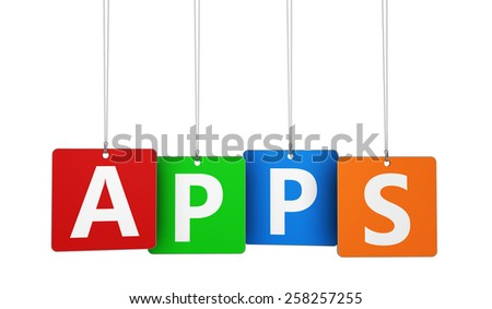 Mobile applications, technology and new media concept with apps word and sign on colorful hanged tags isolated on white background. - stock photo