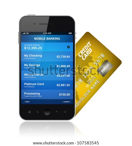 Mobile banking application on a modern smartphone with plastic card. Illustration isolated on white. - stock photo