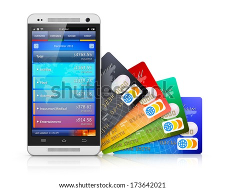 Mobile banking, business finance and making money commercial technology concept: modern metal black glossy touchscreen smartphone with personal wallet application and group of color credit cards - stock photo