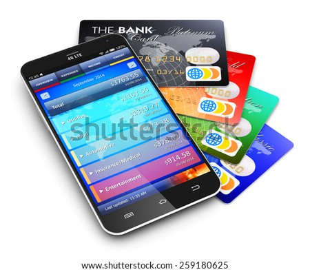 Mobile banking, business finance and making money commercial technology concept: touchscreen smartphone with personal wallet application and group of color credit cards isolated on white background - stock photo