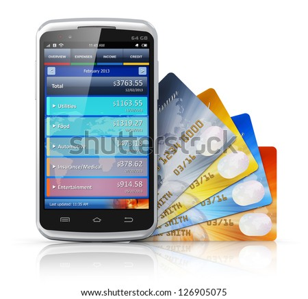 Mobile banking, business finance and making money concept: modern metal black glossy touchscreen smartphone with personal wallet application and group of credit cards isolated on white background - stock photo
